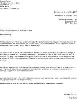 Exemple Lettre De Motivation Animateur Staffsocial