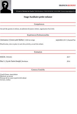 CV CAP Petite Enfance pdf